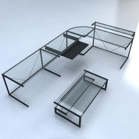 3ds contemporary glass desk
