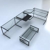 3ds contemporary glass desk