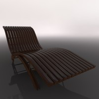 wooden lounger chaise 3d model