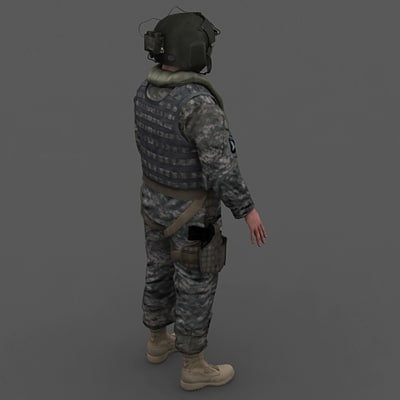 army blackhawk gunner 3d model - US Army Blackhawk Gunner... by Camelot Inc