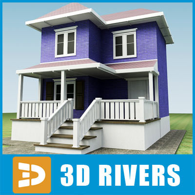 3d small town house building model for Building model houses