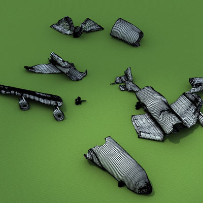 3d crashed b747 plane model - Crushed plane B747 5 by 3DRivers... by 3DRivers