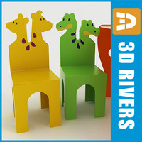 3d model kids table chairs