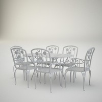cast-iron table chairs 3ds