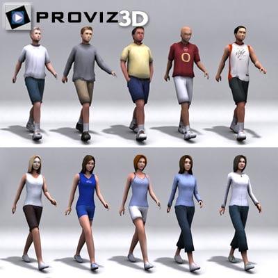 Walking Sports People 3d Model