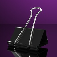 Black Binder Clip for Office Visualization - Accurate and scale