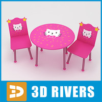 Kids table with chairs 03 by 3DRivers