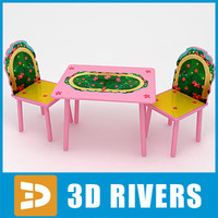 Kids table with chairs 04 by 3DRivers