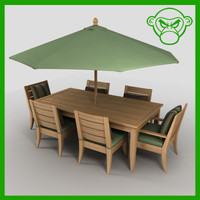 long table with chairs and umbrella