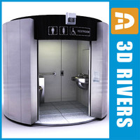 self-cleaning public toilet interior 3d 3ds