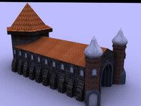 3d low-poly church