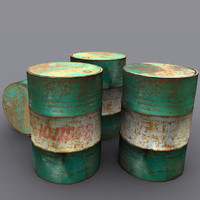 3d model storage drum battered