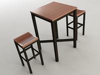 pub table stools 3d max
