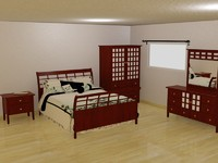 3d bedroom set bed model