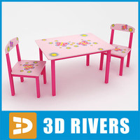 Kids table with chairs 01 by 3DRivers