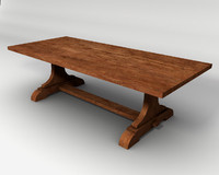 Trestle Table 3d model, low-poly