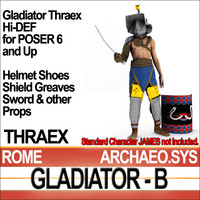 Props Set Poser Daz for Roman Gladiator Thraex