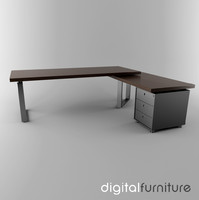 3d office desk model