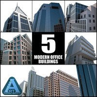 office buildings modern construction 3d model