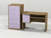3d model bookcase desk