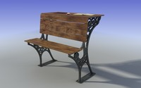 Old student wood bench 3D Model