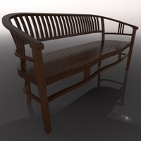 3d wooden bench wood