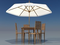 patio furniture table umbrella 3d model