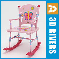 3d model kid rocking chair