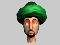 3d arab comic head cartoon