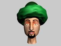 3d arab comic head cartoon