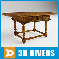 italian walnut table 3d model