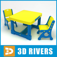 Kids table with chairs 06 by 3DRivers