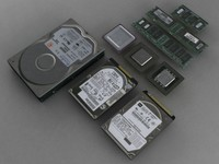 3d old computer components model