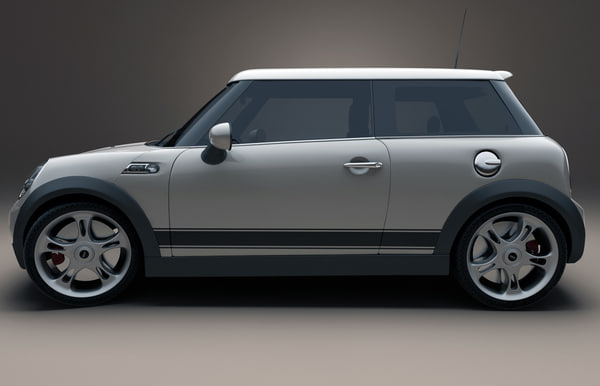 3ds max mini modelled - Mini Cooper car... by 3d_molier