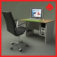 3d modern office computer desk