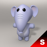 3d elephant character animating model
