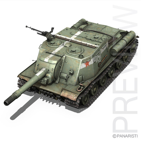soviet heavy self-propelled gun c4d - ISU-152 - Soviet heavy self-propelled gun... by Panaristi
