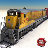 realistic train goods wagons 3d model