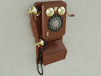 3d vintage wall phone