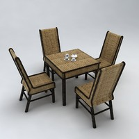 chinese woven wood table 3d 3ds