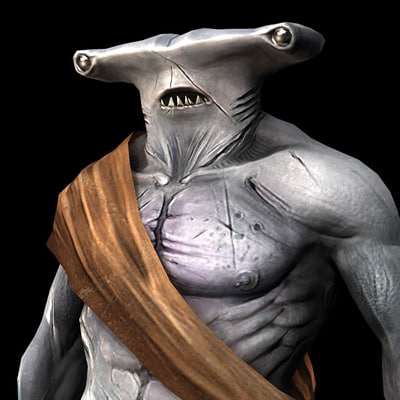3d model of shark human creature - Shark Creature(Textured)... by RyanMTaylor