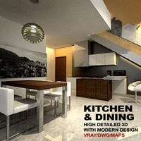 3d kitchen dining model