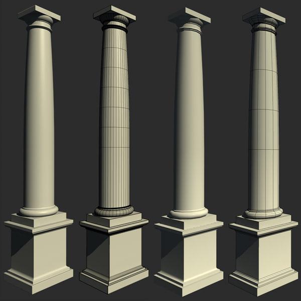 3d model column pedestal 4 marble for Tuscan columns