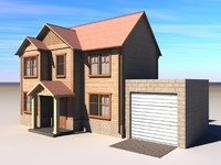 3d model of building walls roof house