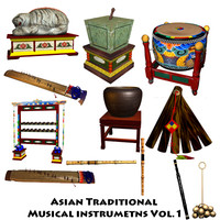asian traditional musical instruments 3d ma