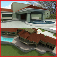 3d latin hacienda modern mansion