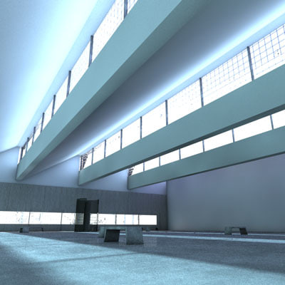 cinema4d interior renovated factory space - industrial hall gallery, renovated factory space... by Mi3D