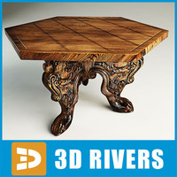 Italian walnut table 03 by 3DRivers
