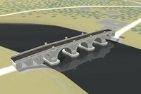arched stone road bridge c4d