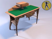 free 3ds model table bureau art nouveau